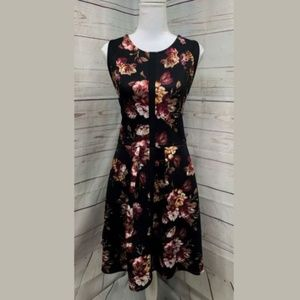 BAR III Fit and Flare Black & Maroon Floral Dress
